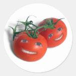Tomates dulces pegatinas redondas