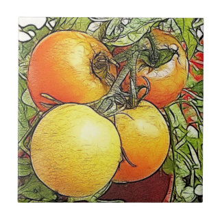 Tomates frescos de la herencia del jardín azulejo cuadrado pequeño