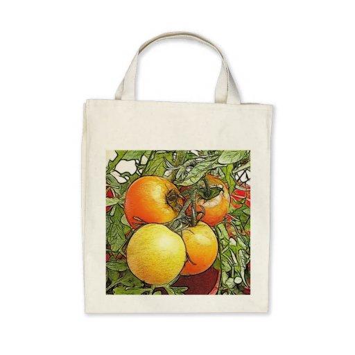 Tomates frescos de la herencia del jardín bolsas de mano