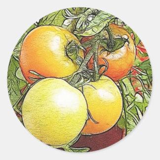 Tomates frescos de la herencia del jardín pegatina redonda