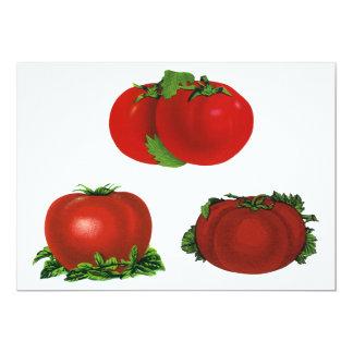 """Tomates maduros rojos comida, frutas, verduras del invitación 5"""" x 7"""""""