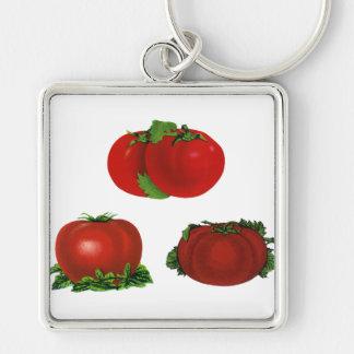Tomates maduros rojos comida, frutas, verduras del llavero cuadrado plateado