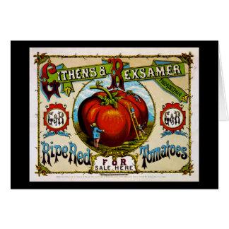 Tomates rojos maduros para la venta aquí, c.1869 tarjeta de felicitación