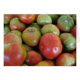 Tomates rojos y verdes tarjeta de felicitación