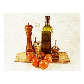 Tomates y aceite de oliva maduros en tabla de tarjeta postal