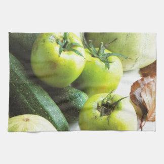 Tomates y melones verdes toallas de mano