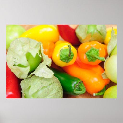 Tomatillos And Chilis Poster