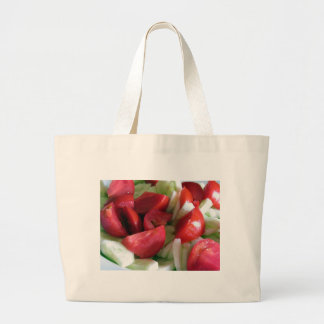 Tomato and cucumber salad large tote bag