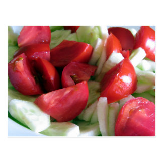 Tomato and cucumber salad postcard
