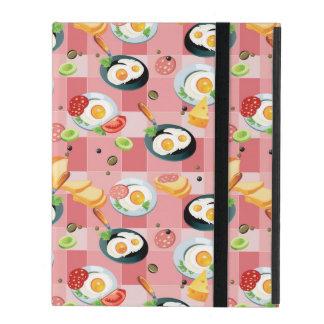 Tomato and Fried Eggs Pattern iPad Folio Case