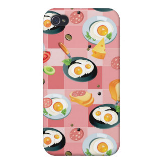 Tomato and Fried Eggs Pattern iPhone 4/4S Case