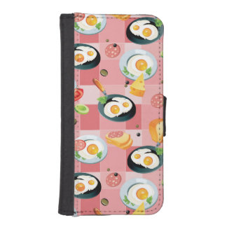 Tomato and Fried Eggs Pattern Phone Wallet Cases