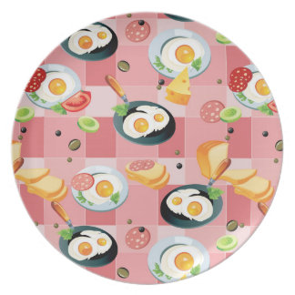 Tomato and Fried Eggs Pattern Party Plate