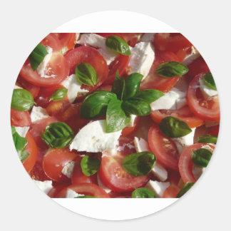 Tomato and Mozzarella Salad Classic Round Sticker