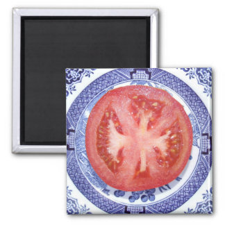 TOMATO AND WILLOW PATTERN PLATE FRIDGE MAGNET