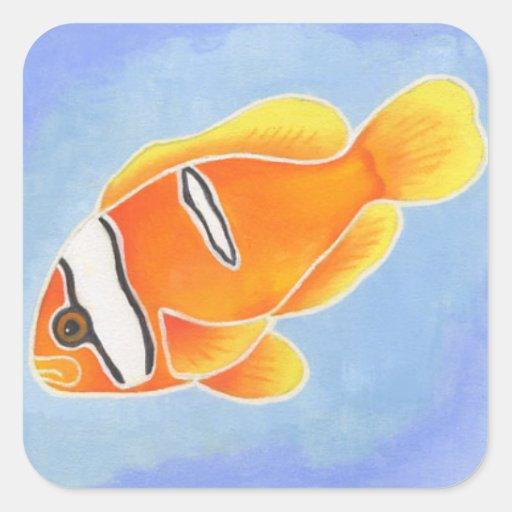 Tomato Anenome Fish Square Sticker