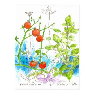 Tomato Basil Garden Praying Mantis Art Postcard