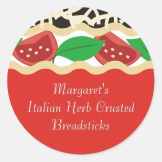Tomato basil lasagna Italian food gift tag sticker