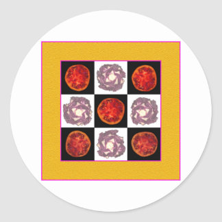 Tomato Cabbage Grid Round Stickers