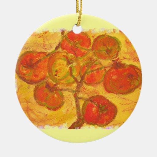 tomato cluster watercolour ceramic ornament
