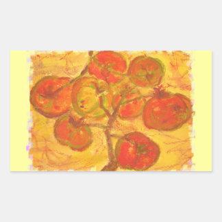 tomato cluster watercolour rectangular sticker