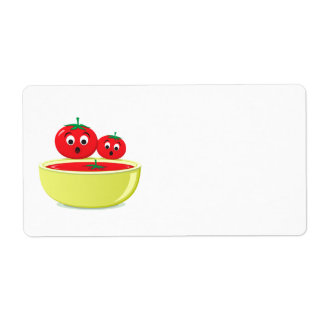 Tomato falling into tomato soup blank labels