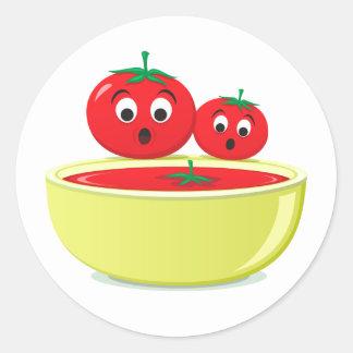 Tomato falling into tomato soup cute stickers