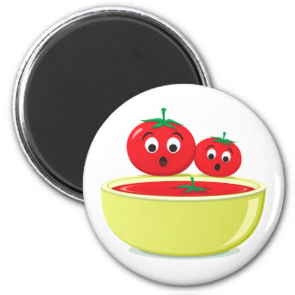 Tomato falling into tomato soup fridge magnet