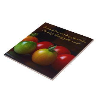 Tomato Friends & Family Quote Ceramic Tile/Trivet Tile
