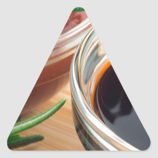 Tomato ketchup and soy sauce in a transparent bowl triangle sticker