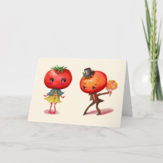 Tomato kitschy Cute Couple Kitchen Greeting Card