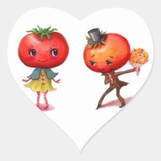 Tomato kitschy Cute Couple Kitchen Heart Sticker