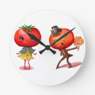 Tomato kitschy Cute Couple Kitchen Round Clock