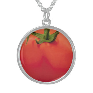 Tomato Medium Sterling Silver Round Necklace