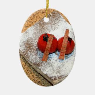 Tomato on cumin seeds christmas ornaments