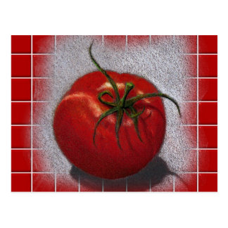 TOMATO ON RED: ART POSTCARD