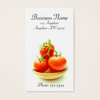 Tomato Organic Picked Red Tomatoes Wooden Bowl Business Card