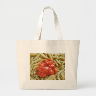Tomato pasta large tote bag