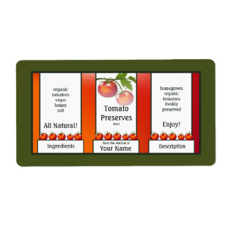 Tomato Preserves Canning Label