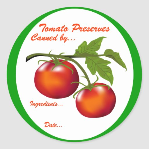 Tomato Preserves Canning label Classic Round Sticker