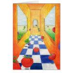 Tomato Radish Kitchen Note card Checkered Floor