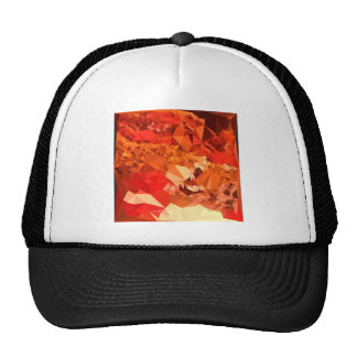 Tomato Red Abstract Low Polygon Background Trucker Hat