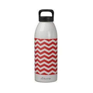 Tomato Red And White Zigzag Chevron Pattern Drinking Bottles