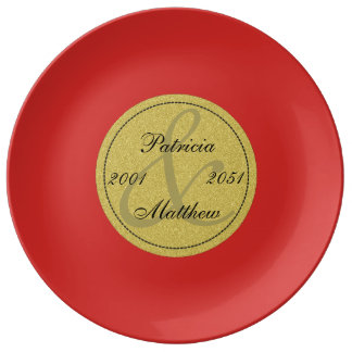 Tomato Red Golden 50th Wedding Anniversary Gift Porcelain Plates