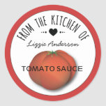 Tomato Red Modern From the Kitchen of Label Classic Round Sticker
