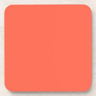 Tomato Red Solid Color Beverage Coaster