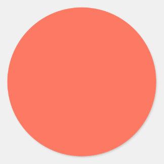 Tomato Red Solid Color Classic Round Sticker