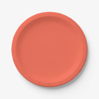Tomato Red Solid Color Paper Plate