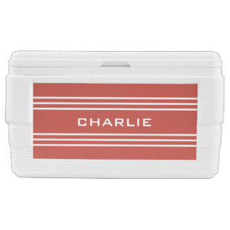 Tomato Red Stripes custom monogram cooler