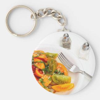 Tomato Salad Basic Round Button Keychain